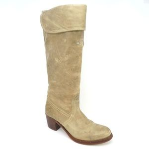 Frye Jane Tall Cuffed Blonde Leather Boots